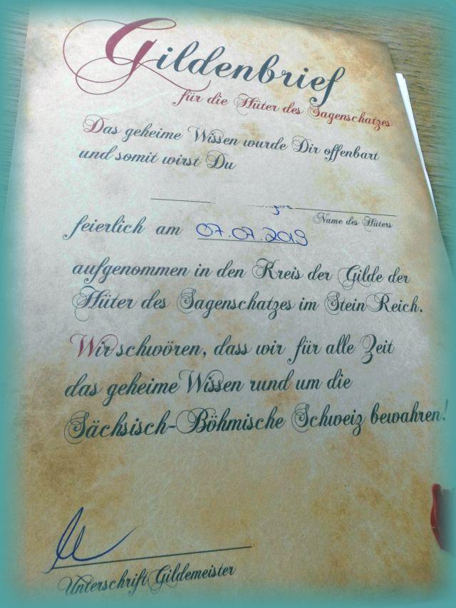 SteinReich Gildenbrief Urkunde für Kinder